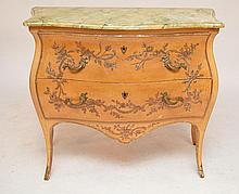 2 drawer serpentine French style dresser, faux marble top, 33