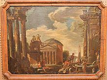 19th Century Romanesque style oil on canvas, 27-1/2