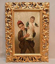 Cipriano Cei (1864-1922) Oil Painting on Canvas. Boy with Child. Ornate frame.-- Dimensions: H: 18 inches: W: 11 inches