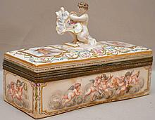 Capodimonte hinged covered box (loose brass)
