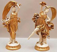 Pair of dancing Capodimonte ladies, 10