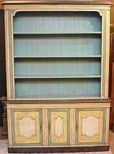 Painted vintage breakfront, open shelving above 3 cabinet doors, 63