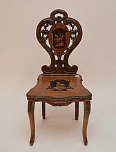 German/Austrian side chair carved and inlay