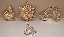 5 sterling Christmas ornaments, 4ozt