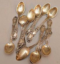 12 sterling Alvin demi-tasse spoons, 5ozt