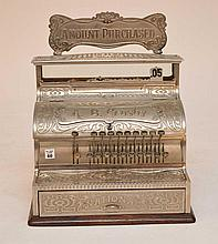 Vintage National Nickel Plated Cash Register A. B. Crosby.  Condition: Very good. Ht. 20