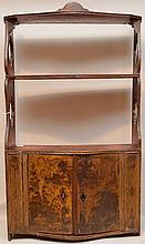 Continental 18th century hanging shelf, Chinoiserie design on 2 cabinet doors, floral motif on sides (old bug damage to bottom shelf), hardware needs replacement