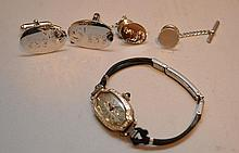 Ladies 1930's watch, 18kt AND sterling cufflinks with sterling tie tack