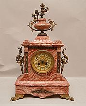 Rouge marble French mantle clock, hour and half hour chime, bell chime, 7 day with bronze mounts