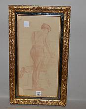 Eastman Johnson (AMERICAN, 1824-1906) Pencil drawing of a man, 16