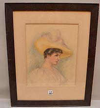 American School watercolor by M. Cross, Portrait lady w/ hat, 13-1/2