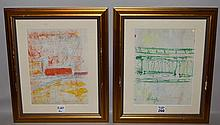 Purvis Young (American, 1943-2010) 2 Drawings on paper, Outsider Abstract Art, approx. 11