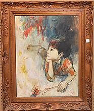 Portrait painting of a boy daydreaming signed illegibly, 19-3/4