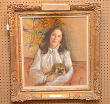 Portrait Painting signed Zita, oil on canvas in gallery frame, canvas size 22