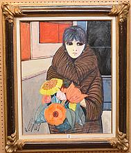 Charles Levier (French/American, 1920-2004) oil on canvas, Girl in Fur coat holding flowers, canvas size 36