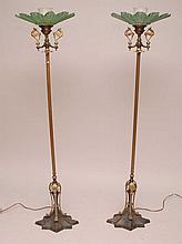 Pair Vintage Art Deco floor lamps, columnar standard mottled painted iron base, original glass shades (small repair) approx. 62