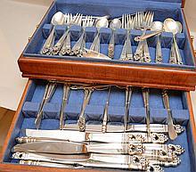 Royal Danish sterling flatware set, incl; 13 dinner knives, 13 dinner forks, 12 salad forks, 12 butter knives, 11 soups, 8 cocktail forks, 26 teaspoons and  5 serving pieces, 165ozt