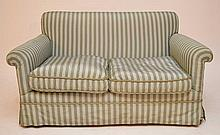 Striped silk fabric upholstered love seat, 2 bottom cushions