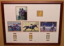 Seattle Slew Framed Collage with signed photo and three tickets.  Condition: good. 34 x 43