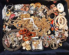 Lot of costume jewelry, incl; 6 silver novelty pieces (no signed pieces, this is a gamble)No inquiries on this lot please, only bids.