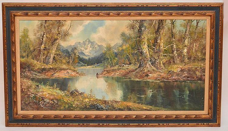 Joseph Fruhmesser (Austrian/German, b. 1928) oil on canvas, high mountain stream, 24