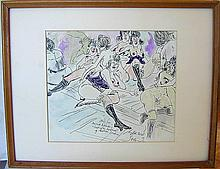 Ronald Searle (Amer 1920-2011) Erotic W/C Amusing pen/ink and watercolor scene depicting a group of bare breasted and nude women of the night with annotation