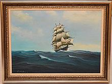 American School oil on canvas, Clipper ship, signed lower left, signed illegibly ?Simmonetti, 25-1/2