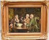 JOHN ARTHUR LOMAX (British, 1857 - 1923) oil on board, 3 figures in interior, 12