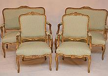 4 pc. French style parlor set, 2 settees and pair matching chairs