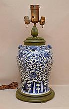 Vintage Chinese Blue & White Porcelain Vase/Lamp, vase is 15