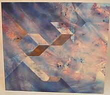 Modern abstract signed Gillette '72, oil on canvas, signed lower right, 44