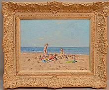 Niek van der Plas (b.1954), beach scene, signed lower right, painting sizes is 12