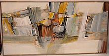 L. Biro, American, 20th Century, large oil on canvas, Abstract Composition, 48