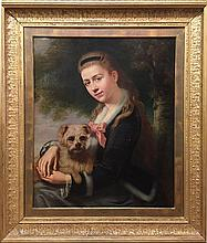 19th Century Girl with Dog, after Sir John Everett Millais (BRITISH, 1829-1896)