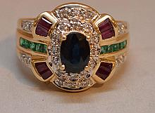 Ladies ring, 14kt gold, 1ct. Sapphire, 18 diamonds=1/5ct, 8 rubies and 10 emeralds, 3.5dwt
