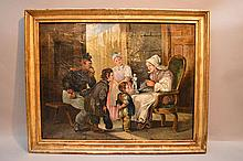 19th Century French School oil on canvas, Family Interior, 19-1/2