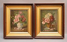 Pair of French School by Gustave Fluery, oil on canvas- still life scenes, 9-1/2'' x 7-1/2
