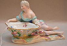 Meissen Porcelain Sweet Meat Dish woman wearing gown.  Condition: good with minor normal wear.  Lth 6 1/2