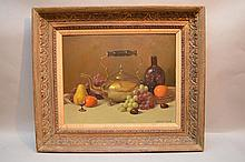 Herbert E. Abrams  (American 1921 - 2003) oil on board, Still Life, 16