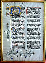 Important 15thc Illuminated Manuscript on VellumFinely executed in Latin with bold colors and heavy gold application; image: 16.25