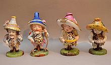 Four 19th Century Derby Porcelain Dwarf Figures.  Condition: minor normal wear.  Two have very slight age cracks on the bottom.  Ht. 6 1/2