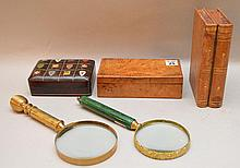 Lot;  2 vintage magnify glasses, leather jewel box with coat of arms and hinged faux book box