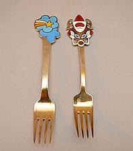 2 sterling Michelson Christmas forks, 1975 & 1952