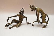 2 bronze dancing devils, 5 1/2