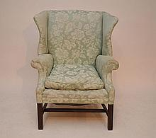 Wing back chair, blue down