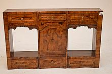 Hanging Continental display cabinet, burled wood, 3 side by side drawers over center display above 3 side by side drawers