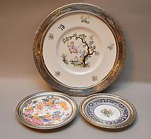 3 sterling rimmed plates, Royal Worcester (10 1/4