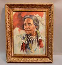 Indian Portrait, oil on board, 1l6