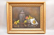 American School oil on canvas Still Life, signed lr Illegibly,  canvas size 16