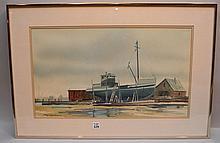 James Philip Feriola  (American 1925 - 1998) Watercolor Ship at Dock, image size 13-1/2